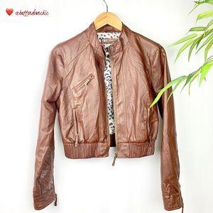 ZARA Women's Brown Faux Leather Jacket, Medium